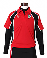 Girls Top In Red And Black With School Logo
