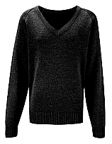 Girls V fitted Jumper  Black Cotton