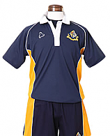 Navy and Yellow Unisex Polo Tops with Logo