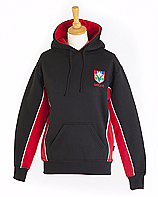 PE Hoodie Red/Black With School Logo